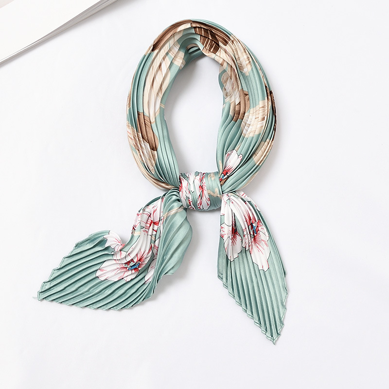 Women Pleated Head Scarf Designer Silk Bandana Soft Floral Crinkle Neck Scarf Top Neckwear Summer Hot [3951]