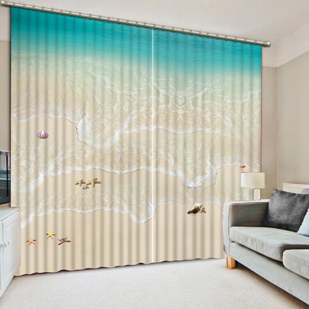 Mode européenne rideaux 3D plage spray pour salon chambre photo impression jacquard rideaux occultants