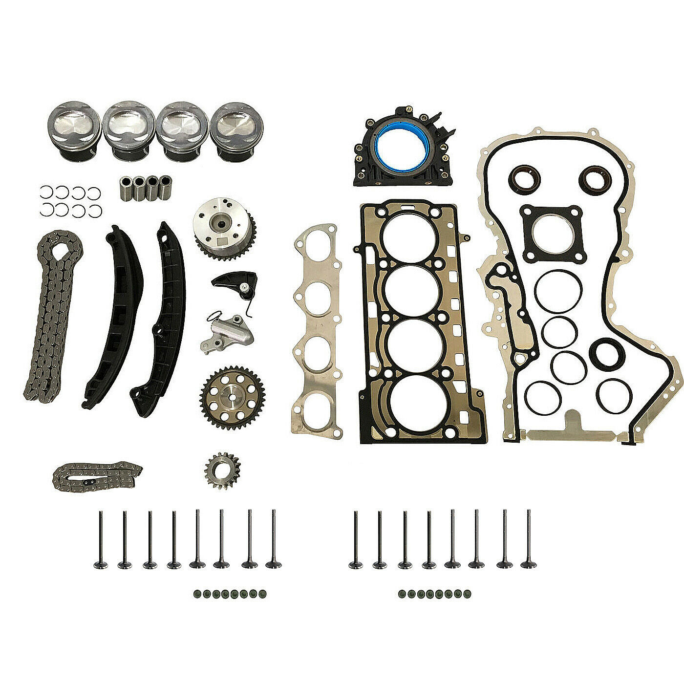 AP01 Engine Repair Kit Pistons STD + Timing Chain Kit + Head Gaskets For Audi A3 A1 VW EOS BEETLE SCIROCCO CC 1.4 TSI