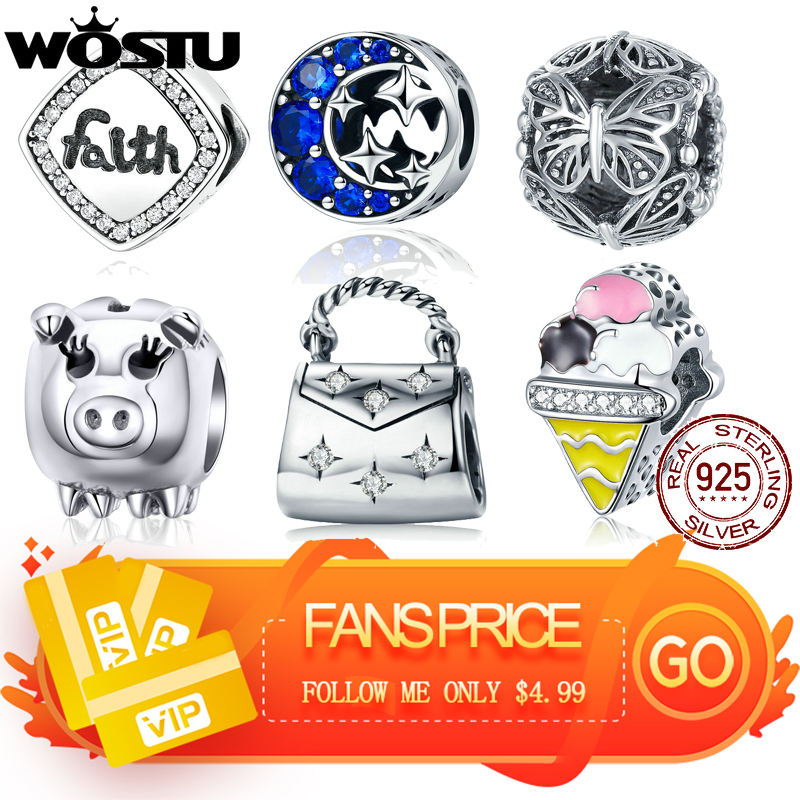 WOSTU Fans Only Price DIY Silver Charm Fit Original Bracelet Bead 925 Sterling Silver Love Charm Silver Jewelry make for women(China)