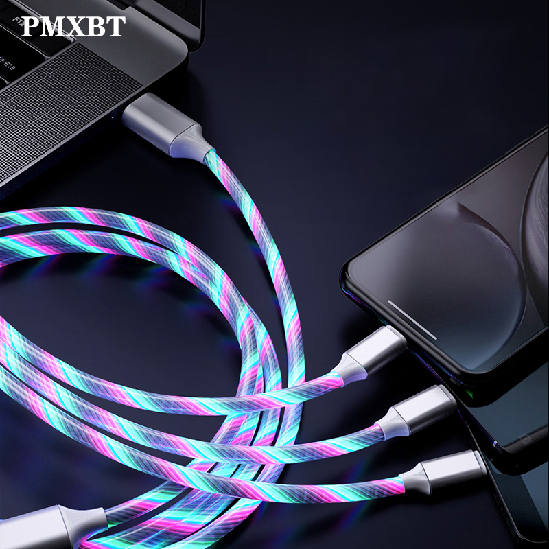 LED Glow Flowing <font><b>3in1</b></font> Charger <font><b>usb</b></font> <font><b>cable</b></font> Type C Micro <font><b>USB</b></font> C 2.4A Fast Charging for Samsung Xiaomi Android <font><b>Cable</b></font> Charge USBC Cord image