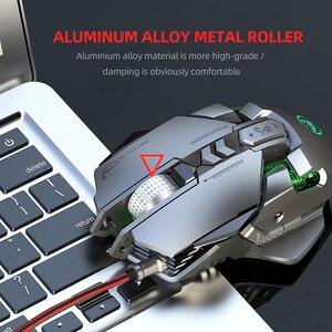 Image 2 - RGB metalowa mysz Gamer podświetlana mechaniczna przewodowa mysz 7 klawiszy 6400DPI regulowana definicja mysz do gier Gamer na PC Laptop