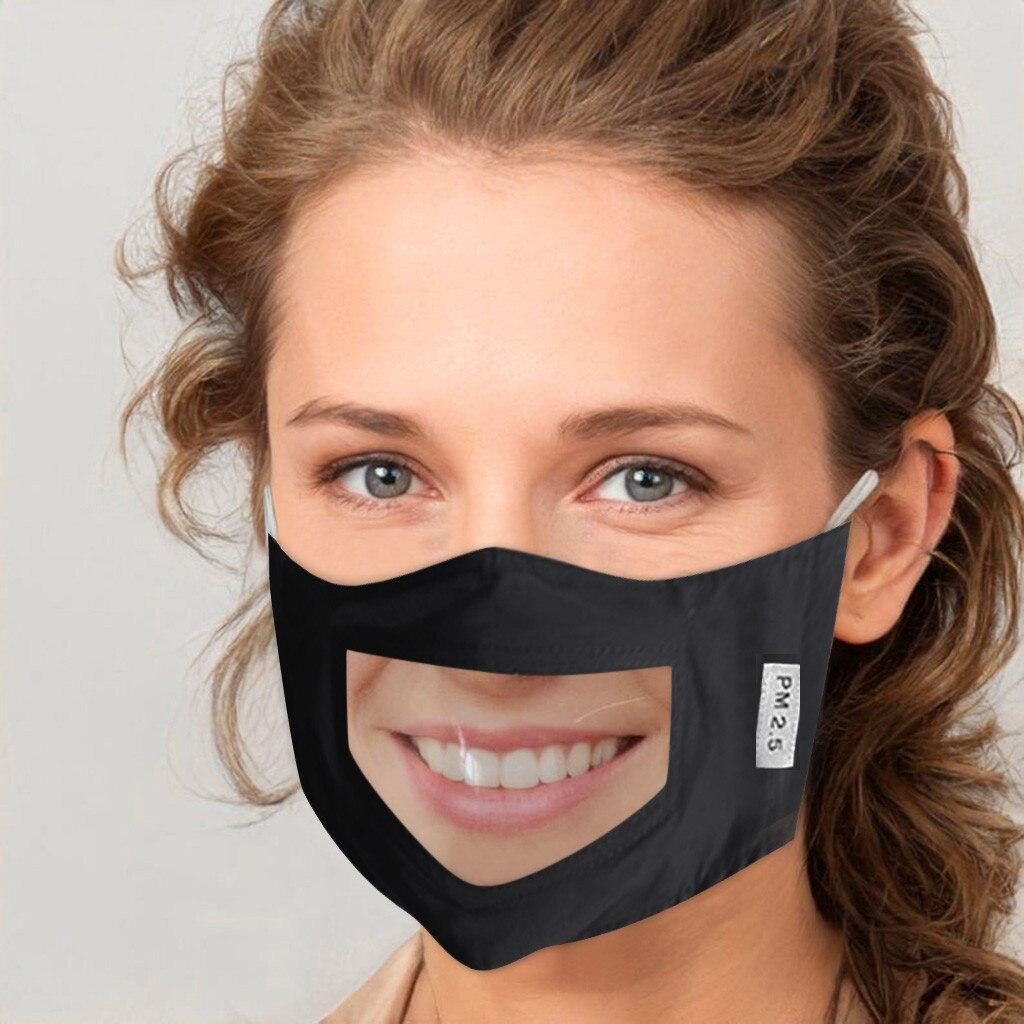 Máscara de lenço para rosto máscara unissex com janela clara expressão visível lábios visíveis máscara transparente forte proteção cubrebocas