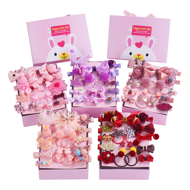 new-18-pcs-box-children-cute-hair-accessories-set-baby-fabric-bow-flower-hairpins-barrettes-hair-clips-girls-headdress-gift