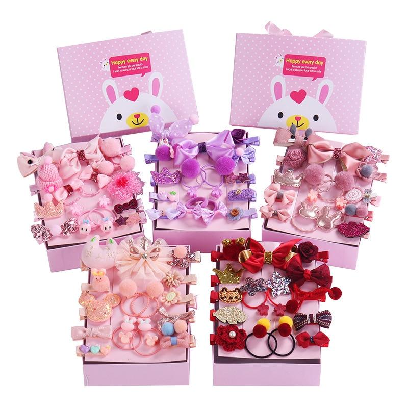 New 18 Pcs/Box Children Cute Hair Accessories Set Baby Fabric Bow Flower Hairpins Barrettes Hair Clips Girls Headdress Gift