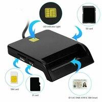 Lector de tarjetas inteligente USB 2,0, lector de tarjetas de identificación, TFMS, CAC, DNIE, IC, ATM, ranura para tarjeta de teléfono TF, SD, SIM, para declaración de impuestos inteligente, identificación bancaria