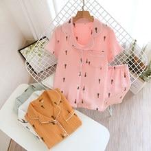 Japanese summer couple pajamas suit cotton crepe ladies solid color simple short-sleeved shirt shorts pajamas men's home service
