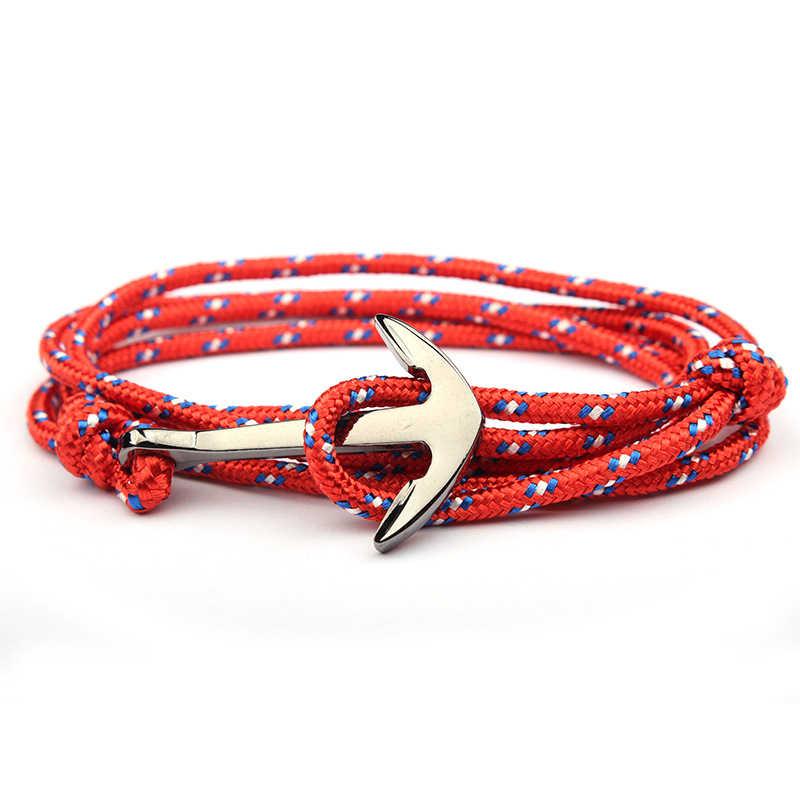 Regulowany Paracord kotwica bransoletka kobiety mężczyźni Charm bransoletki stop kotwica Nylon Rope Chain opaska na ramię w stylu Vintage bransoletki i Bangles
