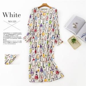 Image 5 - Lovely cartoon Long skirt women sleepdress cotton long sleeved autumn night dress women sleepwear plus size