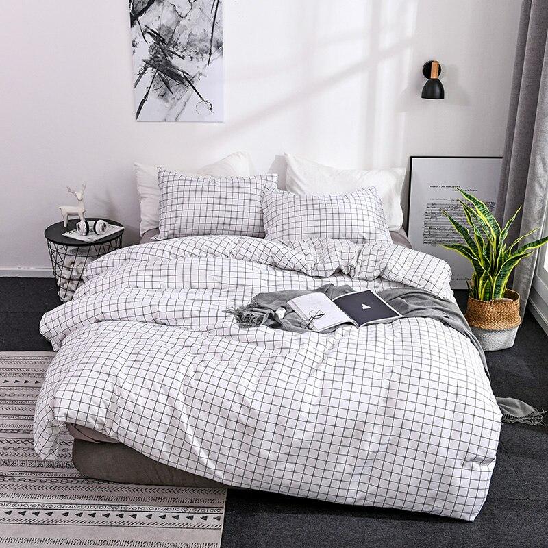 Plaid Stripes Comfortable Polyester Bedding Set Printing Sanding Duvet Cover Set, 1pc Duvet Cover + 1/2pcs Pillowcases