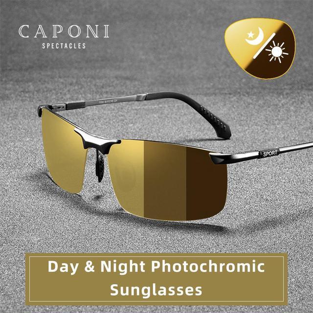 CAPONI Nachtsicht Sonnenbrille Polarisierte Photochrome Sonnenbrille Für Männer Oculos Gelb Driving Gläser gafas de sol BSYS3066