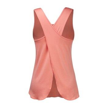 Yoga Shirt Women Gym Shirt Quick Dry Sports Shirts Cross Back Gym Top Women's Fitness Shirt Sleeveless Sports Top Yoga Vest 2