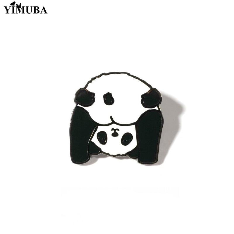Новинка, металлическая эмалированная булавка в виде милой панды из мультфильма, булавки для джинсовой рубашки, воротника, лацкана, значки, б...