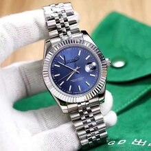 Модное серебряное кольцо чехол синий циферблат класса люкс datejust