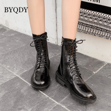 BYQDY Sexy Women Patent Leather Autumn Winter Shoes Woman Ankle Thick Bottom Boots Lace-up Casual Motorcycle booties Footwear