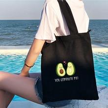2021 Cute Couple Avocado Print Large Canvas Tote Bag Cotton Cloth Reusable Shopping Bag Women Beach Handbags Shopping Bags