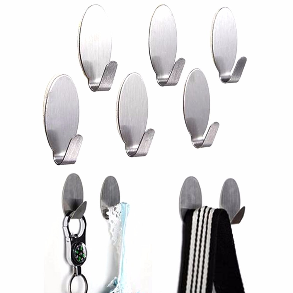 6PCS Stick On Silver Hook Strong Self Adhesive Sticky Coat Hat Metal Hanger Home Bathroom Kitchen Stainless Steel Holder