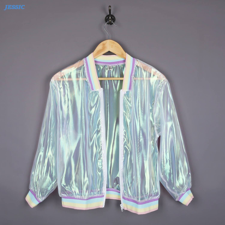 JESSIC Women Coat Iridescent Transparent Jacket Holographic Rainbow Bomber Fashion New Design Hot Sale One Size Coat