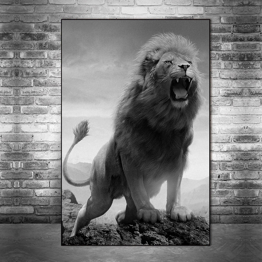 African Roaring Wild Lion Canvas Paintings On the Wall Art Posters And Prints Black And White Animals Art Pictures Home Decor