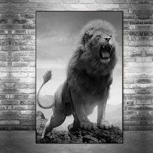 Quadros em tela de leão selvagem africano roaring na parede posters e impressões preto e branco animais arte fotos decoração da sua casa