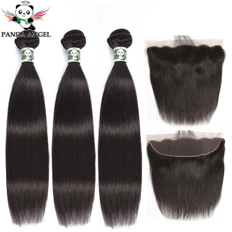 Brazilian Straight Human Hair 3 Bundles With Lace Frontal Brazilian Lace Frontal Closure With Bundles Panda Remy Hair
