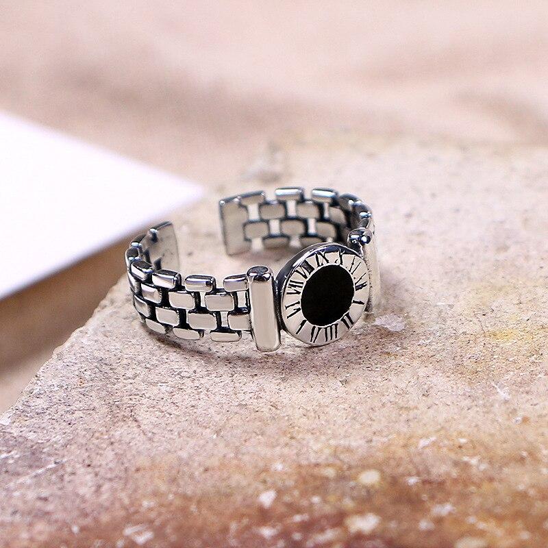 Mode chiffres romains montre bague creuse or rose bijou anneau cadeau de fête d'anniversaire pour fille pour hommes bijoux de luxe