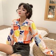 Women Turn Down Collar Blouses Button Down Printing Shirt Long-Sleeve Loose Blouses Shirt Fashion Streetwear Loose Tops new 19