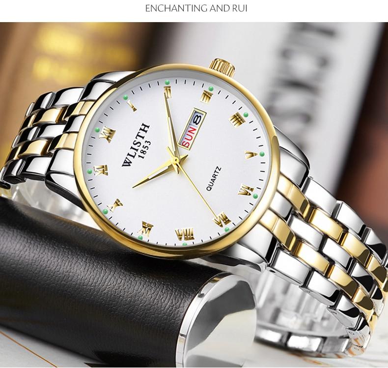 Wlisth casal relógio de aço inoxidável data