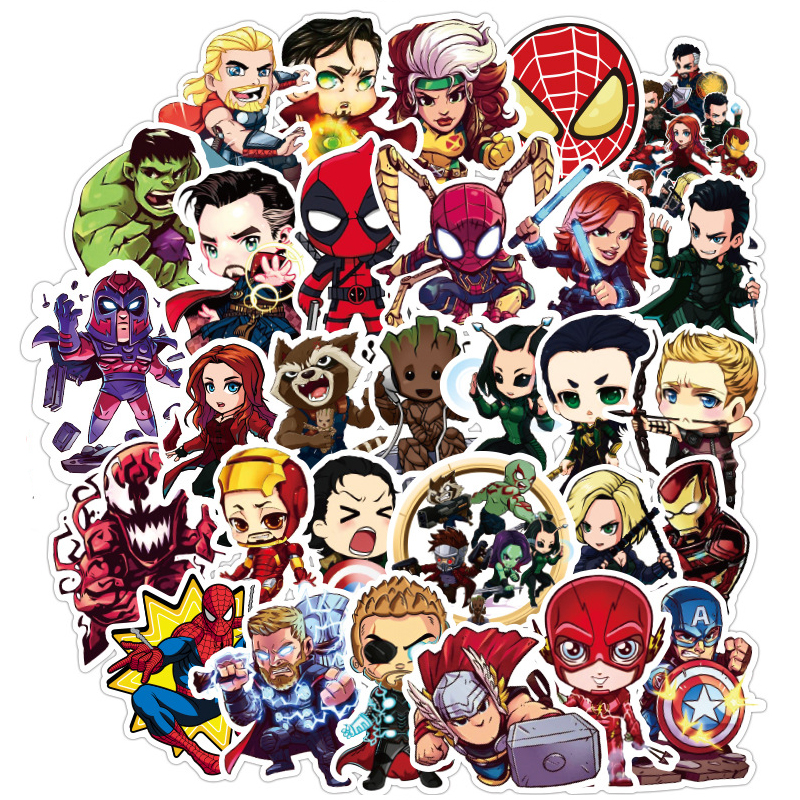 100pcs/set Stickers For MARVEL Super Hero For Car Laptop Notebook Decal Fridge Skateboard Hulk Iron Man