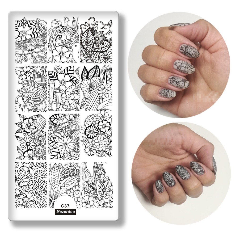 Mezerdoo Lace Flower Pattern Nail Stamping Plates Leaves Image Stamping Printing Nail Art Templates DIY Manicure Stamp Tools C37