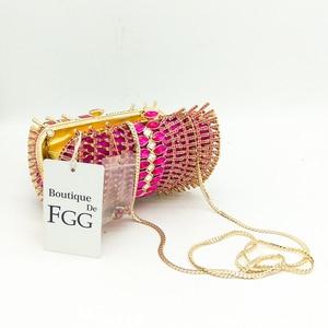 Image 4 - Boutique De FGG di Colore Rosa Caldo Fucsia Strass Diamante Scava Fuori Le Donne di Cristallo Borse Da Sera Borsa Da Sposa Da Sposa Della Borsa Della Borsa
