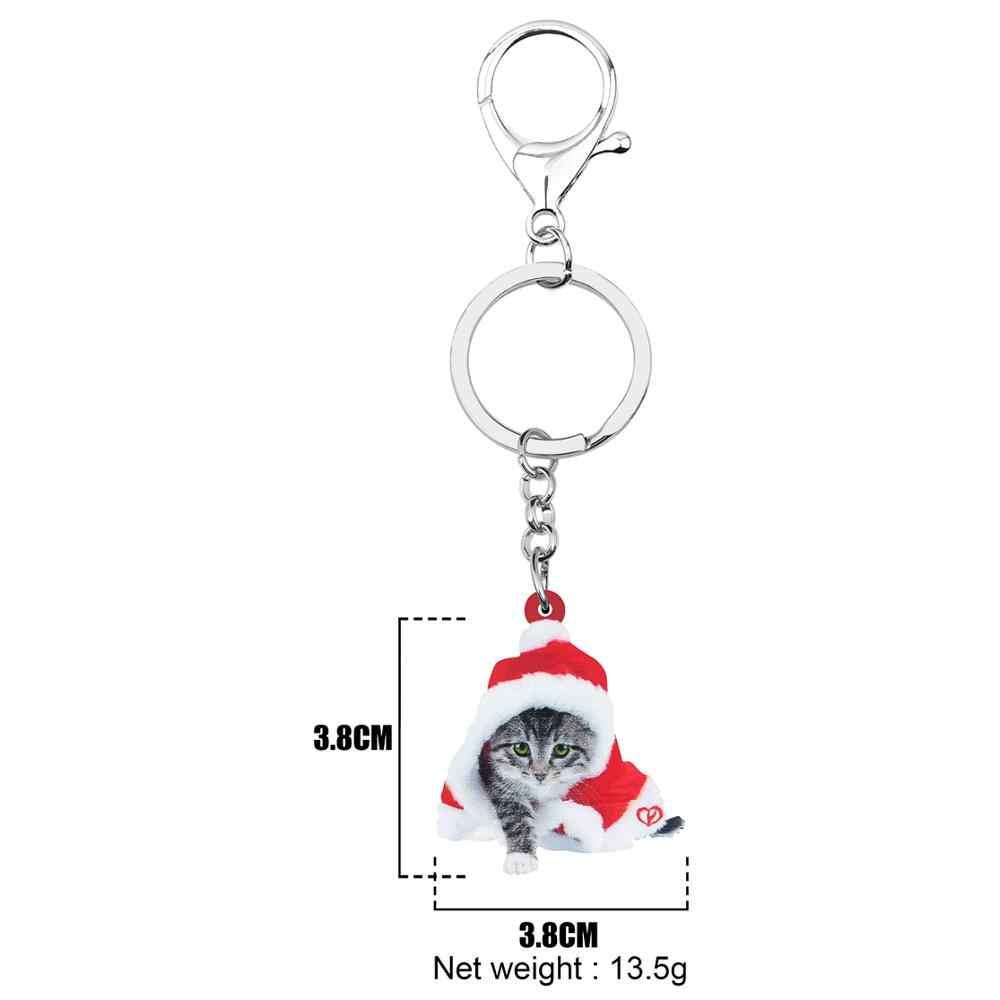 Bonsny acrílico Navidad Pelo Corto gato gatito llaveros bolso llavero coche monedero decoración llavero para mujeres chicas dijes regalo