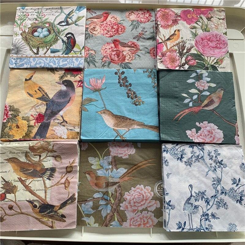 Декупаж, свадебные салфетки, винтажные салфетки для стола, бумажные Элегантные салфетки, розовый цветок, птица, день рождения, красивый деко...