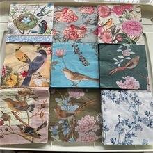 Decumação de servilletas de casamento, papel guardanapo vintage, elegante, rosa, flor, pássaro, festa de aniversário, decoração bonita, 3 vezes