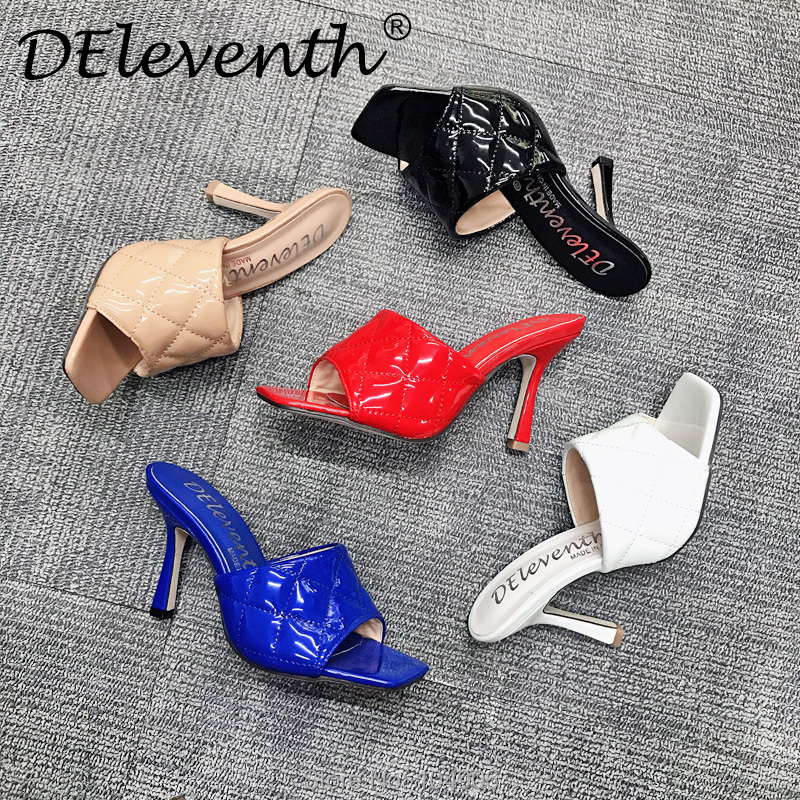 Marian Sqaure Toe Red Quilted Mule Heels Shoe Black PU High Heel Shoes Women Sandals Sliper Woman Shoes zapatos mujer White Blue