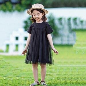 Image 5 - Новинка 2020, детская одежда, платья для маленьких принцесс, Сетчатое лоскутное вечернее платье для девочек, летнее платье для подростков и детей, симпатичное Хлопковое платье, #8402