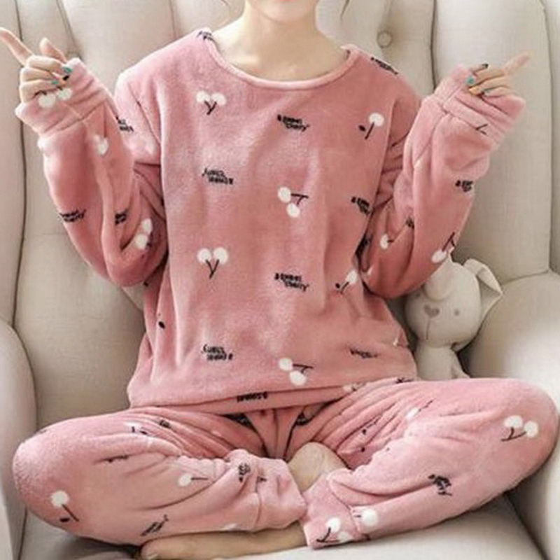 Autumn Winter Flannel Pajama Set Women Long Sleeve Loose Pajamas Home Suit Cute Printed Thick Warm Sleepwear Homewear Clothing 1