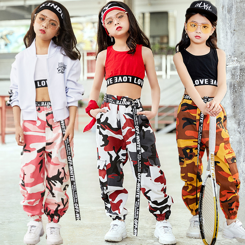 Fashion Children Jazz Dance Costume For Girls Hip Hop Street Dancing Costumes Vest Pants Kids Performance Dance Clothes DL2033