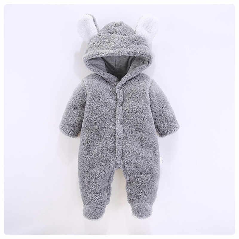 PatPat Neue Winter Warme Baumwolle Lässige Newborn Nette Bär Design winter Mit Kapuze Overall Tasche Fuß Strampler Für Baby Junge Baby mädchen