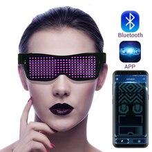 Magia Led z Bluetooth okulary na imprezę kontrola aplikacji świecące okulary EMD DJ elektryczne sylaby Party okulary