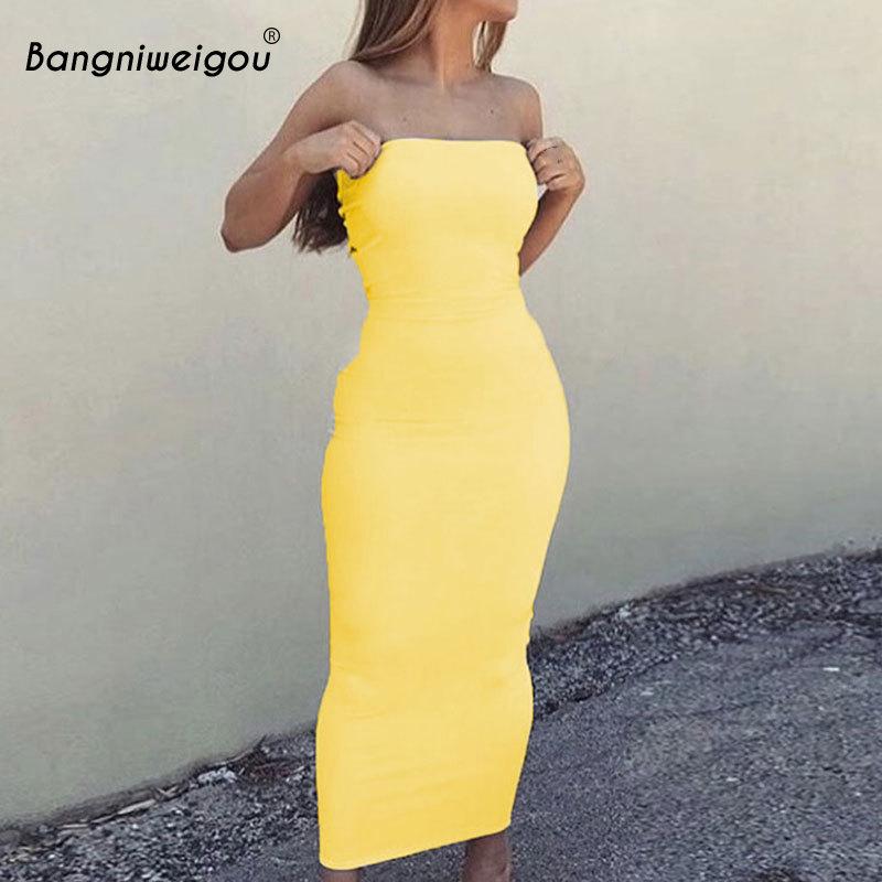 Bangniweigou Sexy Off Shoulder Tube Dress Yellow Women Summer Bodycon Sundress Strapless Stretchy Bandage Long Robe Femme