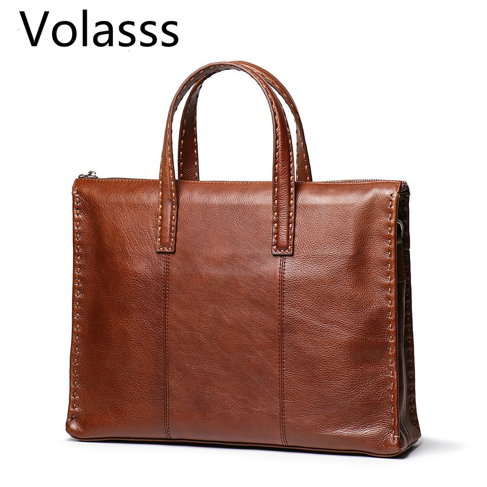 2019 Man Bags Natural Genuine Leather Briefcases Portable Briefcase Men Real Leather Single Shoulder Laptops Bag Luxury Handbags