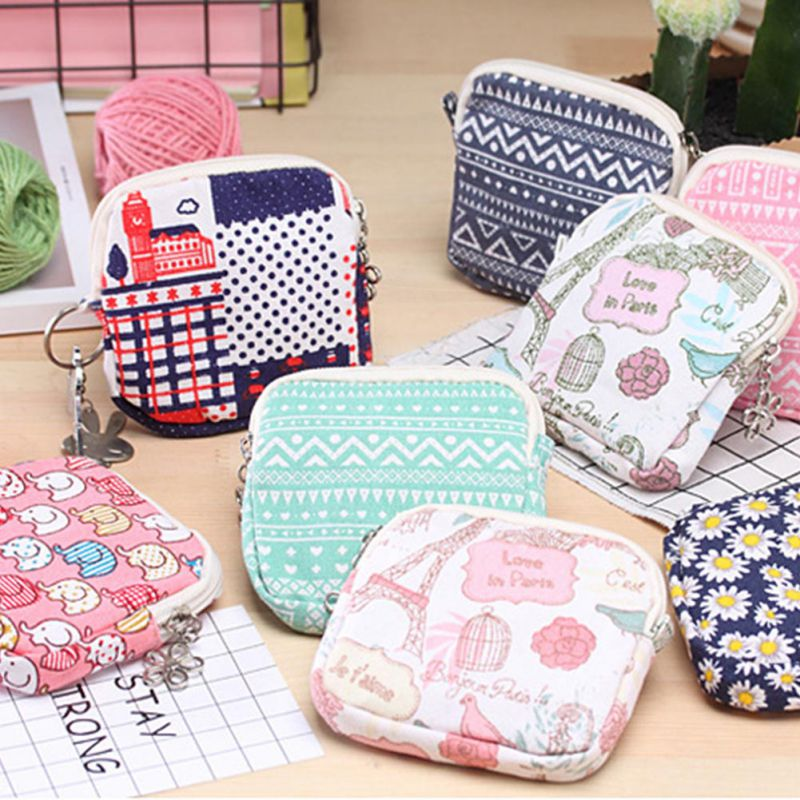 Cute Cartoon Sanitary Towel Napkin Pad Tampon Purse Holder Case Bag Organizer Pouch Girls Feminine Hygiene Portable Mini Bag