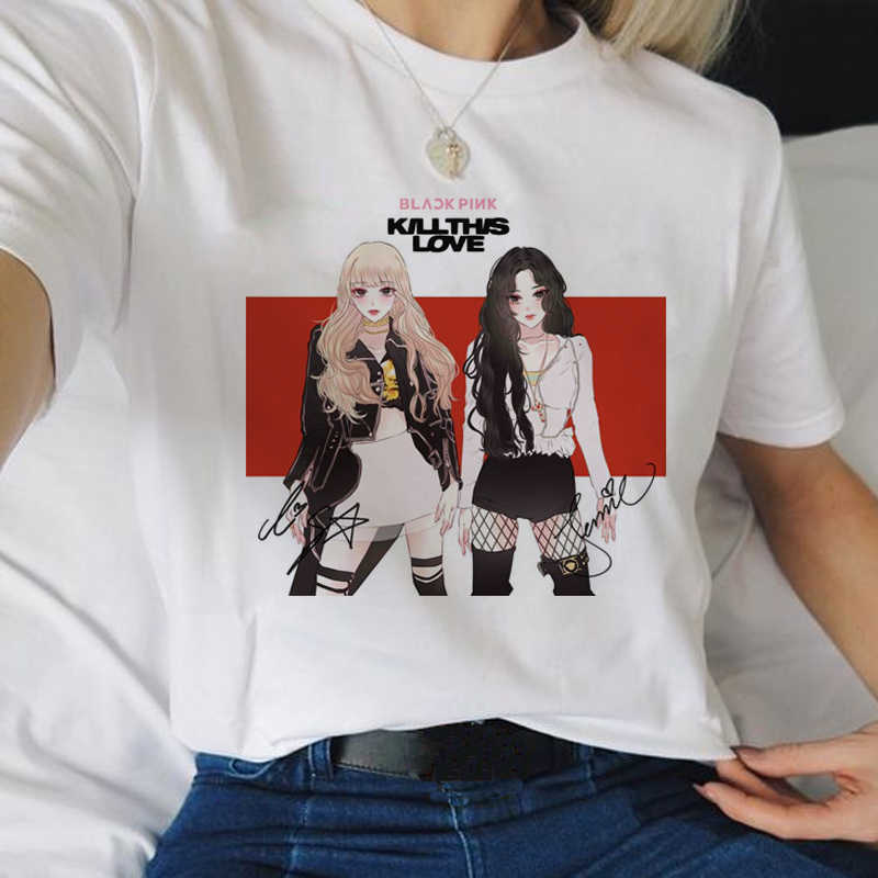 Camiseta blackrosa matar este amor harajuku, feminina, jennie, lise, rosa, jiso, ullzang, coreana, 90s, camiseta gráfica fema