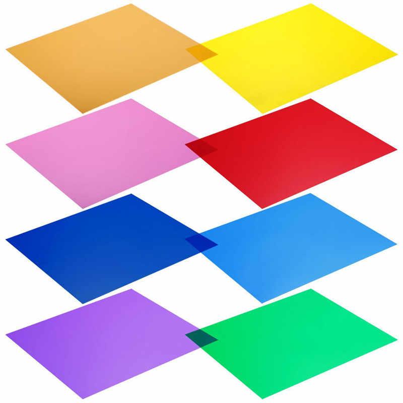 8 ألوان فلاش مجموعة مرشح LED مرشح ضوء PC لون هلام فلاش تصفية للتصوير مربع خاص لون هلام الترشيح مجموعة