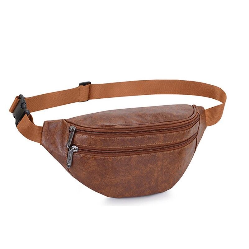 Men Fanny Pack For Women Waist Bag Pu Leather Belt Chest Bag Black Vintage Leisure Waist Pack Phone Pouch Banana Hip Bag 2020