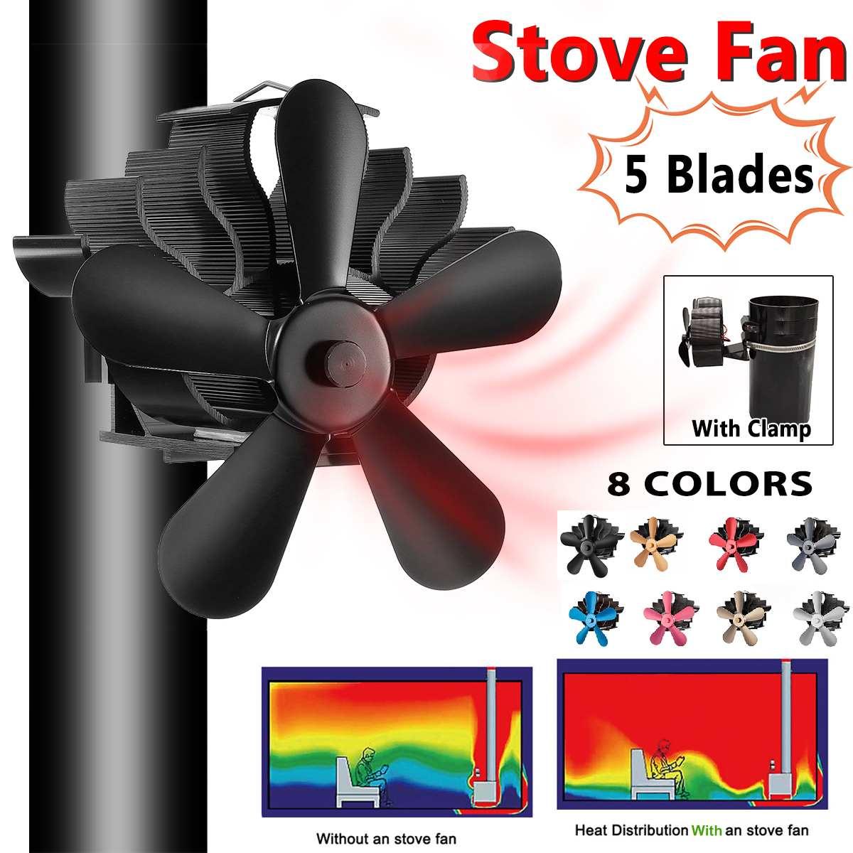 Mouted Type 5 Blades Heat Powered Stove Fan Log Wood Burner Ecofan Quiet Black Home Fireplace Fan Efficient Heat Distribution