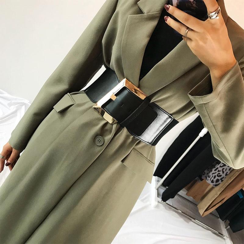 Width 9cm Black Faux Leather Wide Waist Belt Women Fashion Pu Elastic Waistband Corset Belts For Coats 2019 High Waist Belt