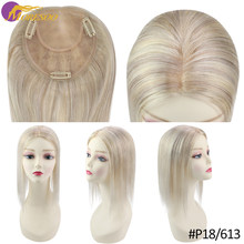Hair Topper Clip in Mono Top Real Human Hair Machine Remy Brazilian Hair Blonde Color Highlight Ombre Hair Pieces(China)
