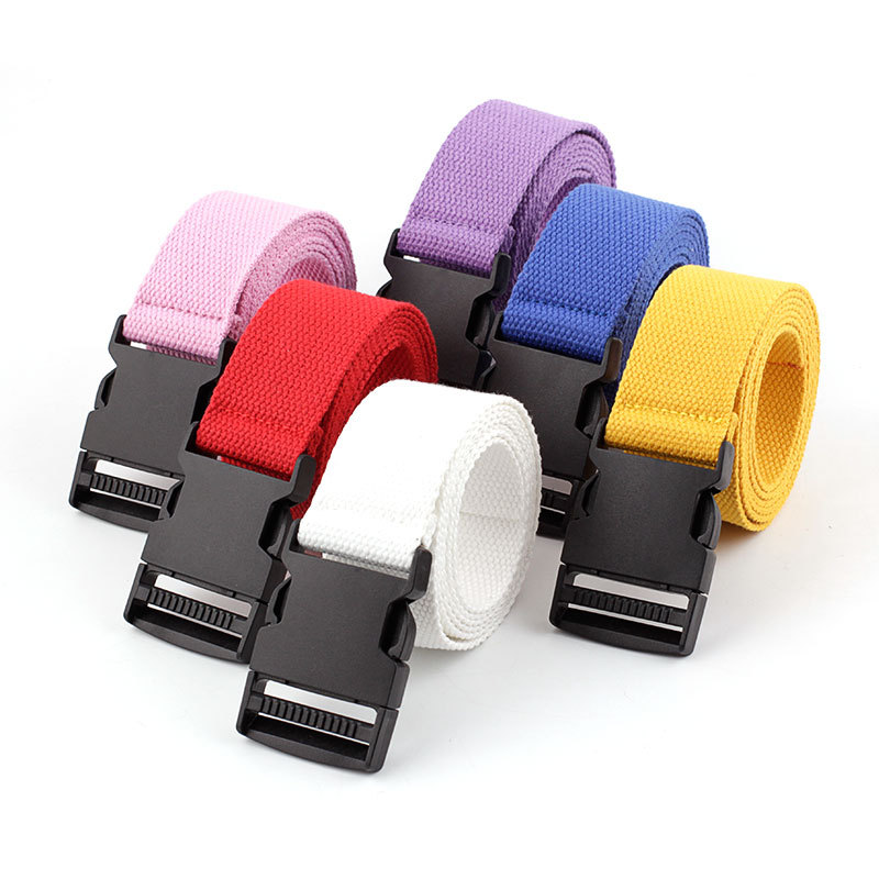 Men's And Women's Canvas Belts Automatic Smooth Buckle Belts Nylon Leisure Canvas Belt Red Purple Blue Black 135cm Punk